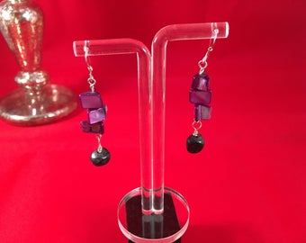 925 Sterling Silver Black Onyx and Purple Shell Pearl Earrings