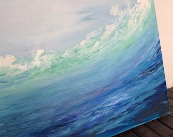 Seascape Oil Painting, Large Canvas, Oil Painting, Ocean Painting, Seascape Painting, Abstract Art, Contemporary Art, sea wave