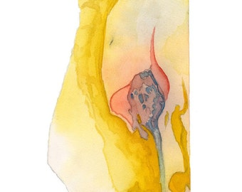 Watercolor art print, bright yellow abstract, small wall art, Celephais