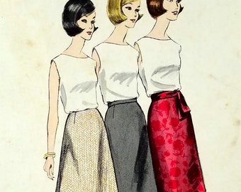 Vintage 1960s A Line Skirt Pattern Vogue 1354 Waist 25 Height Proportioned Skirt Pattern