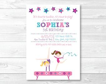 Gymnastics Birthday Invitation / Girl Gymnastics Birthday Invitation / Gymnastics Birthday Party / PRINTABLE A193