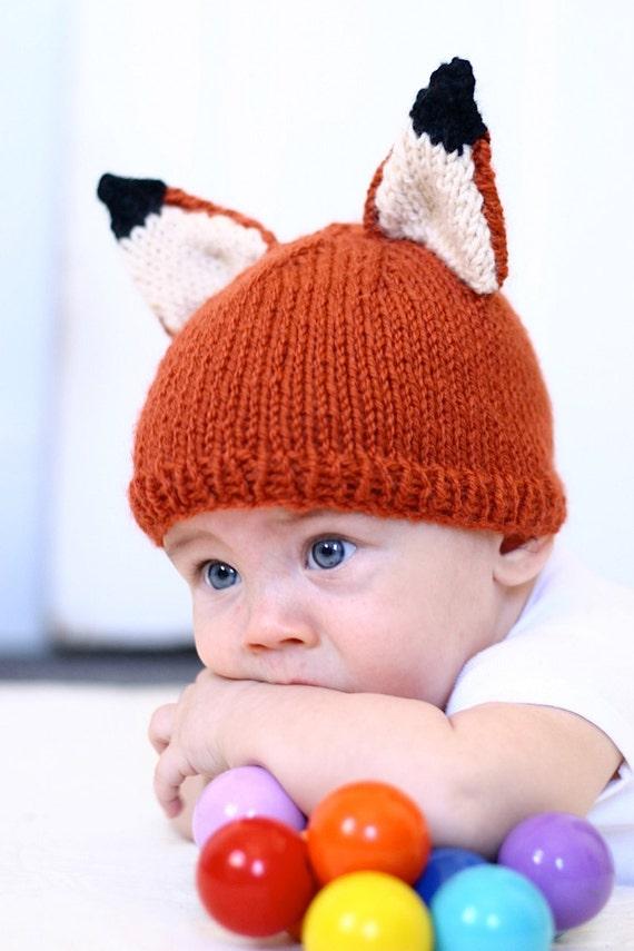 Knit Fox Hat Pattern Knitting Pdf Instant Download Kids Baby Knit