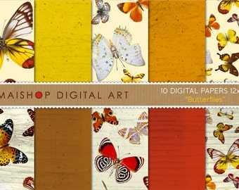 Digital Paper 'Butterflies' Butterfly Pattern and Wood Texture Printable Digital Sheets for Digital Scrapbooking, Papercraft, Decoupage...