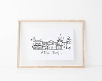 Athens, Georgia Skyline Art Print