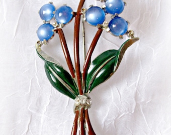 Blue Flower Bouquet Brooch, Vintage , Pot Metal, Blue Glass Cabochons, Clear Rhinestones, Enameled Leaves and Stems, Costume Jewellery
