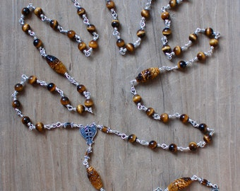 Hand-carved Tigereye and Sterling Silver Rosary