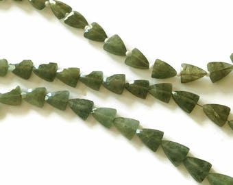 Moss aquamarine faceted triangles.  Approx. 7.5x9mm.   Select a quantity.