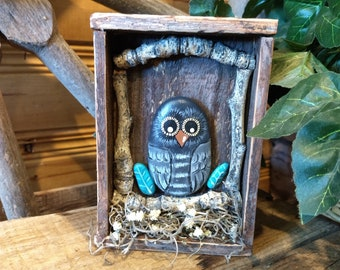 Hand Painted Owl Rock- Wood Framed Box