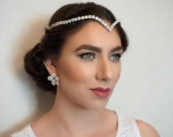 Bridal boho V shaped opal halo, Wedding boho V shaped opal halo, Bridal boho headpiece, Bridal hair accessory, Opal crystal accessories
