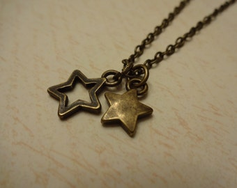 Double Star charm necklace