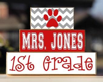 Teacher Sign Paw Print Custom Personalized -Trio Wood Blocks Stack - Classroom Teacher Appreciation Decor/Gift - Wooden Blocks