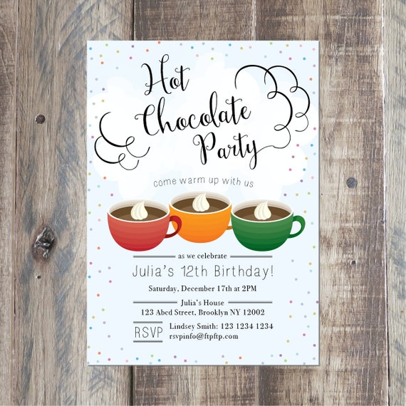 Hot Chocolate Party Invitation Cocoa Party Digital