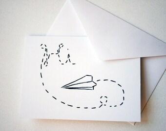 Stationery Greeting -- Paper Airplane Series -- Hi -- Card & Envelope Set