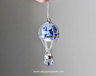 WHITE & BLUE - sterling silver hot air balloon with glass marble, kyanite, blue topaz and zirconia