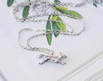 Silver Fox Necklace, fox pendant, nature jewellery, UK maker