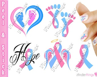 Pregnancy Infant Loss Awareness Ribbon Mix Nail Art Decal Sticker Set RIB909