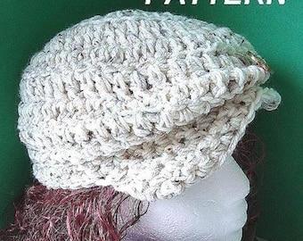 Crochet HAT Pattern- num 38 hat Unisex.. Flat  Top  Newsboy , Adult  Size , Wear  It  Two  Ways, INSTANT DOWNLOAD