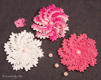 White, pink mix 3D Crocheted cotton flowers, Embellished  with beads, Set of 3, Crocheted Flower Appliqués, craft supplies, wedding decor