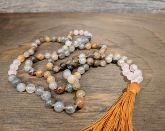 Lodolite Quartz and Rose Quartz Mala 108 Bead Mala Meditation Mala Hand knotted Mala Mala 108