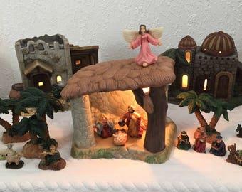 Lighted Porcelain Nativity Set, 19 Pieces, Bethlehem Village, Manger, Angel, Wisemen, Animals, Palm Trees, Vintage 1990s, Never Used
