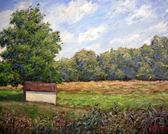Original painting, oil, impressionist, Valley Forge, American, landscape, trees, house, green, clouds, blue, sky, Sessa