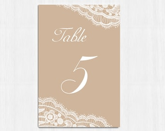 Table Numbers, Elegant Lace table numbers, Printable table cards, beige wedding, Digital file, wedding table number, rustic card, LaceLove01