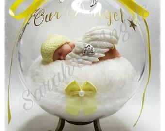 Infant Loss, Miscarriage, Born Sleeping, Angel Baby Memorial Globe  (Yellow)