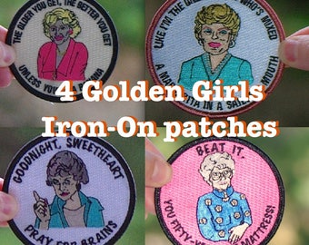 FREE (US) shipping Golden Girls Patch Set of 4 Gift St. Olaf Rose Nylund Dorothy Zbornak Blanche humor funny iron on embroidered patches
