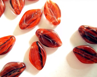 Czech glass Leaf beads x 50, Ruby-Black, 12x7mm, fire polished