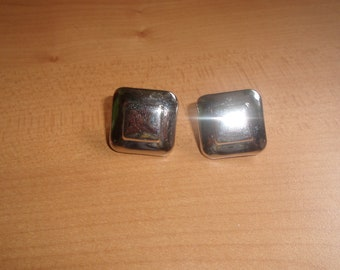 vintage clip on earrings silvertone square