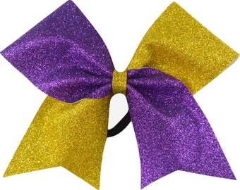 Sideline Tick Tock Purple and Yellow Gold Glitter Cheer Bow
