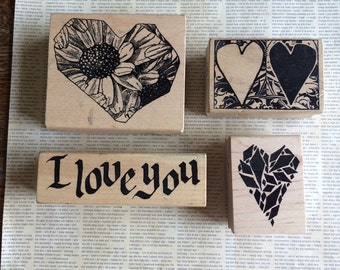 SPECIAL SALE PRICE Four Gently Used Heart Themed Stamps from Magenta on wood blocks