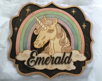 Wood Laser cut and Engraved Hand Painted Unicorn Rainbow Name Sign