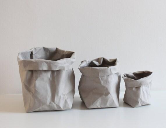 Grey Bag, Paper Sack, Paper Bag Storage, Grey Washable Paper, Bin, Toy  Storage, Kids Room, Planter, Hamper, Container, Minimalistic