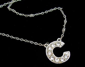 Vintage Letter C Rhinestone Necklace Pendant Initial Silvertone Dainty Gift for Girl Teen Tween Woman Birthday Gift