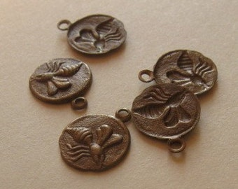 3 Antiqued brass tiny bee charms 9.5mm