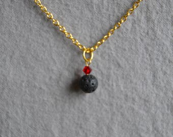 Diffuser Necklace - Lava Stone and Swavorski Crystal - Ready To Ship