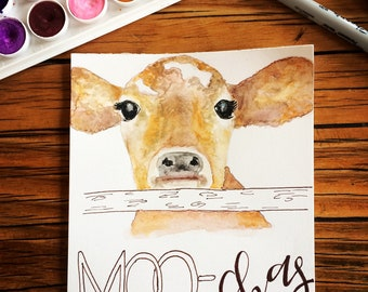 MOO-chas gracias watercolor thank you card