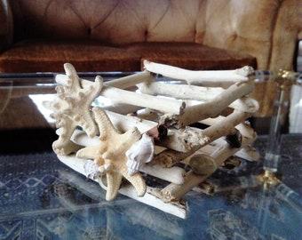 Driftwood candleholder,driftwood candelabra,nautical decor,beach,coastal,nature,cottage,wood,wedding decor,starfish,shells,rustic,summer