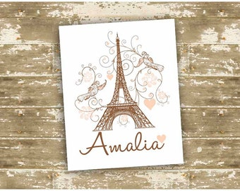 Customized Art for Little Girl's Room, Paris/Parisian Themed