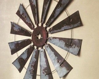 38 Inch Steel Windmill -wall decor- gift- spring decor-rustic-industrial-mancave- home decor- fixer upper- metal wall art. vintage windmill