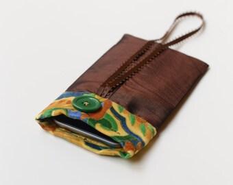 Satin phone pouch