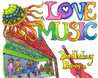PEACE LOVE MUSIC Coloring Book
