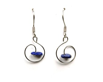 Stone jewel, lapis lazuli earrings, dainty delicate jewelry, lapis lazuli jewelry, delicate dainty earrings natural blue stone earring aywin