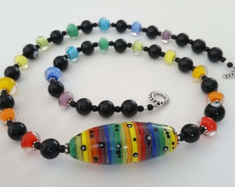 SPECTRUM - Artisan Lampwork Glass Bead Necklace in Rainbow and Black