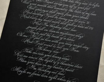 Custom Hand Written Calligraphy Vows/quote/love message/song lyric