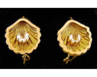 Victorian Gold-Filled Scallop Seashell Earrings with Paste Stones, Pierced