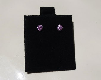 PINK TOPAZ 14K Stud Earrings Small .70ctw Gemstone Pierced Ears NOS Estate Jewelry