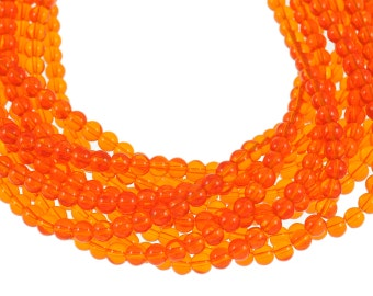Clear Hyacinth Orange 6mm Round Glass Beads - Full 16 inch strand - Approximately 72 beads