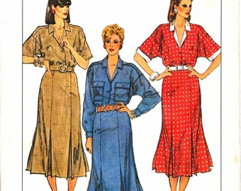 Simplicity 6941 Woman's Classic Shirt Waist Dress, Shirt Collar Dress, Gored Inverted Pleat Skirt Sewing Pattern Size 6 Vintage 1980's UNCUT